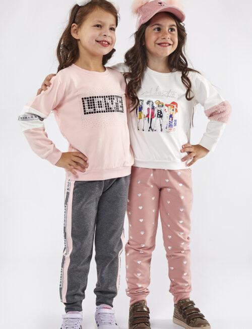 EBITA Φόρμα άσπρο φούτερ με γουνλακι με ροζ παντελόνι