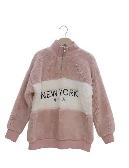 Μπλούζα ροζ Γούνινο Φούτερ