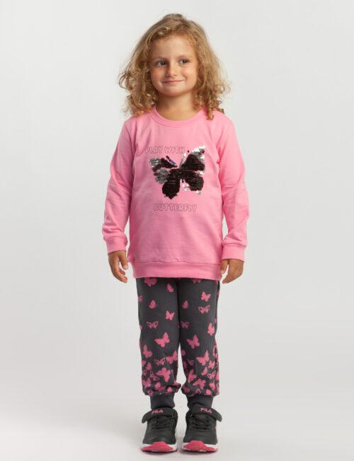 TRAX Φόρμα φούτερ φούξια με πεταλούδες στο παντελόνι