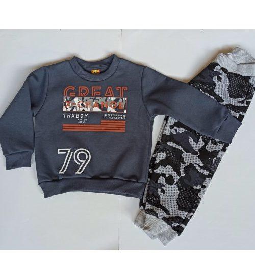 TRAX Σετ Μπλούζα και Παντελόνι Φόρμας Ανθρακί