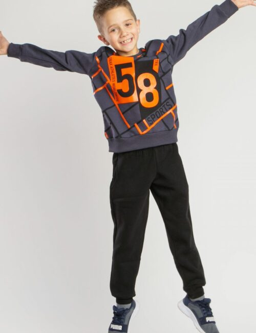 TRAX Φόρμα μαύρο παντελόνι φούτερ με γκρι μπλούζα φούτερ