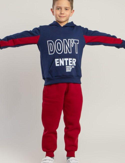 μπορντό παντελόνι φούτερ/ρουά μπλούζα με κουκούλα.
