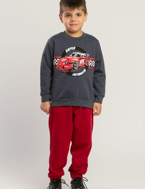 TRAX Φόρμα μπορντό παντελόνι με φούτερανθρακί μπλούζα
