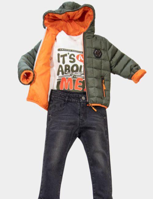 NEW COLLEGE Σετ με μπουφάν παντελόνι jeans και μπλούζα