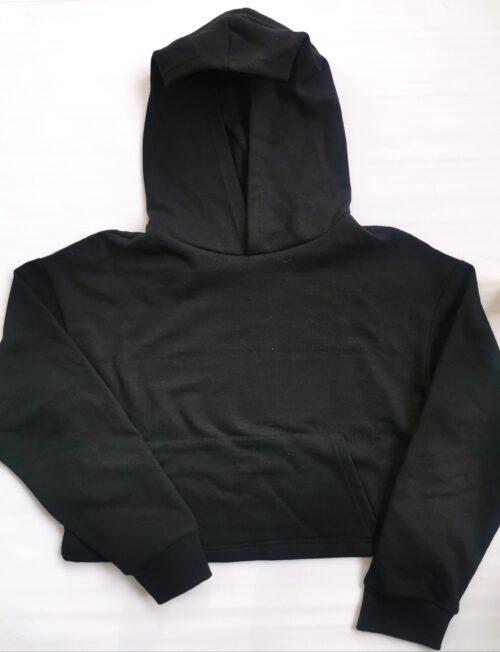 Εφηβική Μπλούζα Φούτερ με Τσέπες Μαύρη