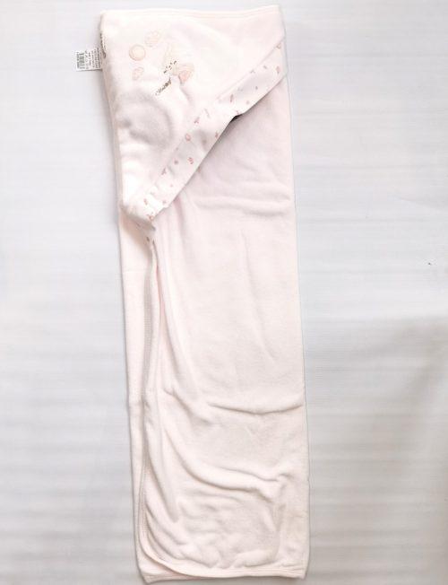 Μπουρνουζοπετσέτα Βρεφική Λευκή με Ροζ