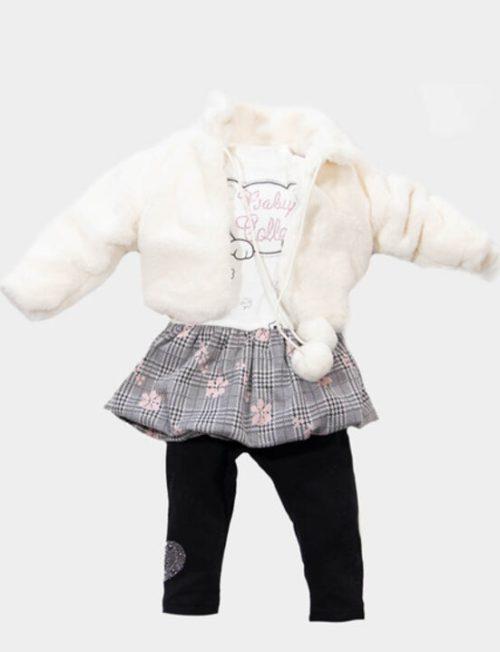 NEW COLLEGE Σετ με γούνινο μπουφάν μπλουζοφόρεμα με καρώ φουστίτσα και κολάν