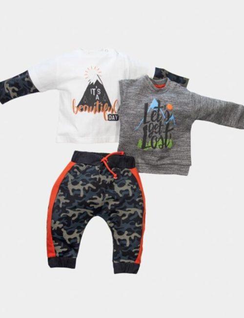 NEW COLLEGE ΣΕΤ 3 τμχ Μπλούζα Φούτερ και Μπλούζα Εποχιακή και Παντελόνι
