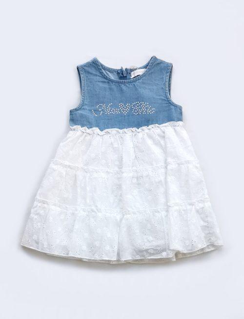 Φόρεμα Τζιν με Λευκή Δαντέλα